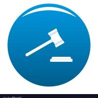 Legal gavel icon. Simple illustration of legal gavel vector icon for any design blue