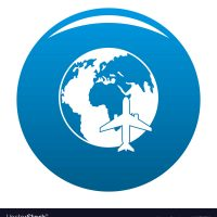World tourism icon vector blue circle isolated on white background